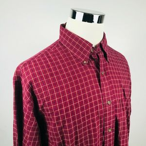 Brooks Bros Large Sport Shirt Maroon Yellow Check